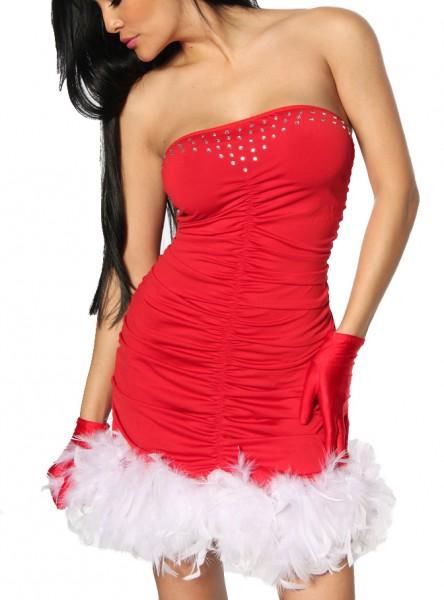 Rotes Bandeaukleid mit ausgefallenem Federn und Strass leicht Weihnachts-Kleid gesmokt Minikleid