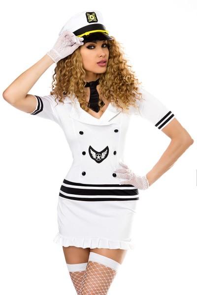 Damen sexy weißes Pilotinnen-Kostüm mit Kleid Mütze Stockings Handschuhe und Krawatte Roleplay Verkl