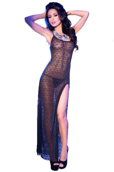 Transparentes Damen Dessous Maxi-Kleid mit Muster in schwarz Gogo-Kleid geschlitzt inkl String
