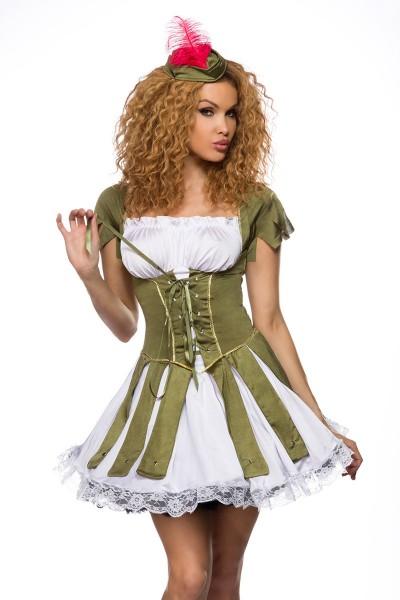 Damen Robin Hood Kostüm Verkleidung in Corsagenoptik mit Kleid, Hut, String Onesize