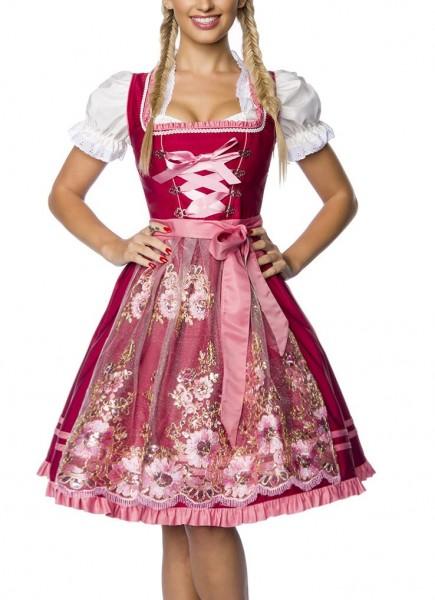 Dirndl Kleid Kostüm mit Schürze Minidirndl mit Stickereien Pailletten und ausgestelltem Rockteil Okt