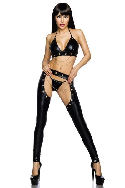 Erotisches Damen Dessous wetlook Set aus Neckholder Top, Slip und Chaps in schwarz aus Ösen und Kett