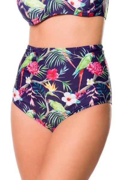 Elastischer Damen Bikiniunterteil Höschen Panty Beinausschnitt und Blätter Blüten Papagei Muster bla