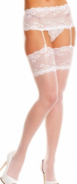 Weißer erotischer Damen Dessous Shorty Strumpfhalter mit Strümpfe aus Spitze 20 den Garter Belt