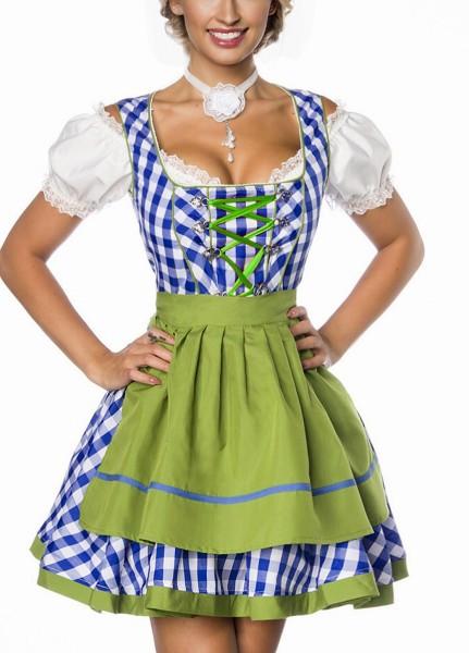 Dirndl Kleid Kostüm mit Schürze Minidirndl mit Karomuster und ausgestelltem Rockteil Oktoberfest Dir