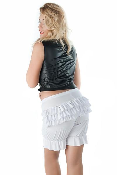 Erotische Damen Dessous Pantaloons in weiß mit Volant sexy Kostüm Höschen