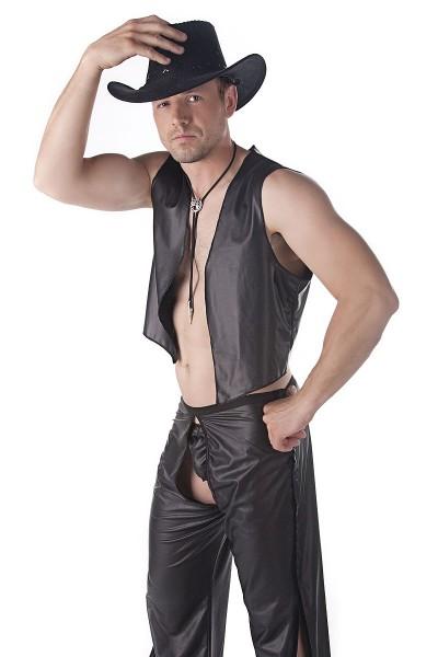 Sexy Männer Dessous Cowboy-Set aus Tanga, Weste und Hose aus Kunstleder in schwarz weich elastisch K
