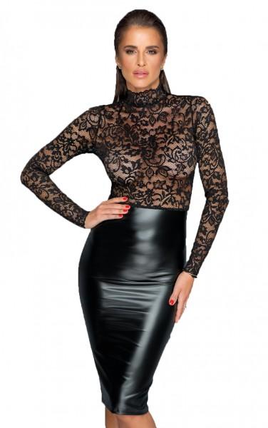 Schwarzes Midi Kleid mit Spitzen langarm Top und wetlook Rockteil geschlitzt