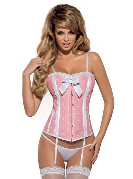 Damen Dessous Corsage in rosa/weiß gepunktet mit Schnürung und Hakenverschluss inkl. String