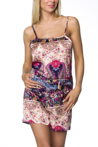 Damen Playsuit Hosenrock mit buntem Print Anzug Jumpsuit mit Träger und Bindung