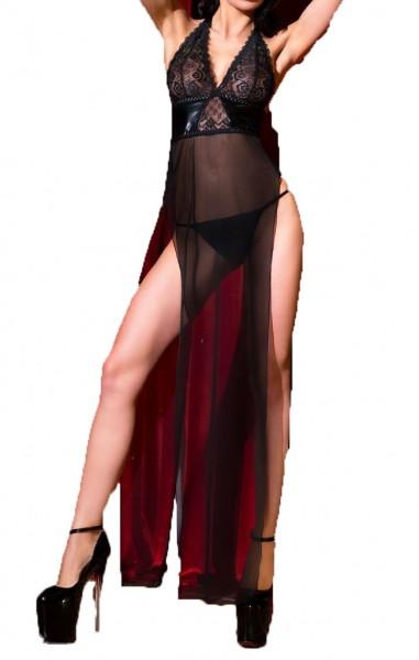 Erotisches Damen Babydoll schwarz transparent mit Schlitz Neckholder Kleid mit String