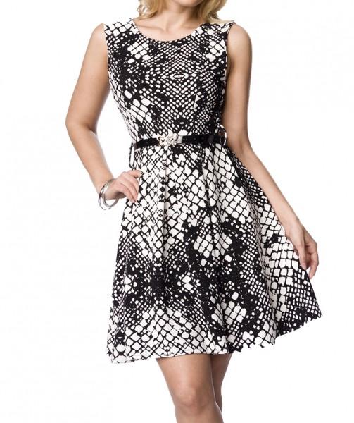 Schwarz weiß gemustertes Sommerkleid / Abendkleid mit Lackgürtel und Reißverschluss knielang