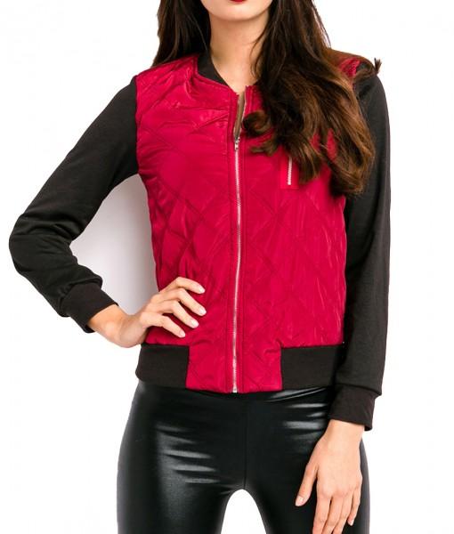 Rot schwarze kurze Damen Jacke mit Rippbündchen Reißverschluss vorn Brusttasche vorn Steppjacke