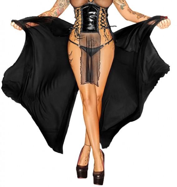 Damen Reizwäsche Dessous Kleid lang fetisch transparent wetlook mit Schnürung und Reißverschluss