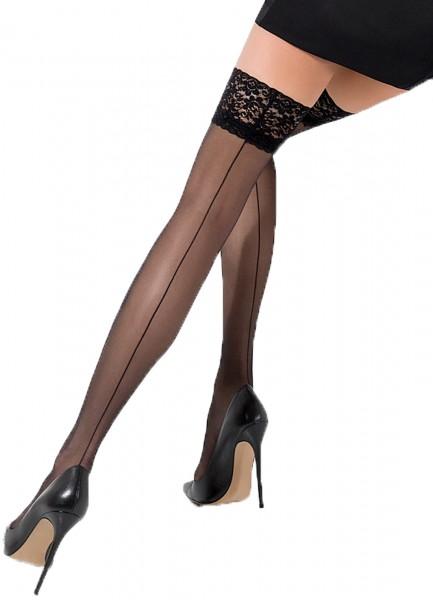 Halterlose Damen Dessous Strümpfe Stocking in schwarz mit Spitze und Naht Muster 17 den