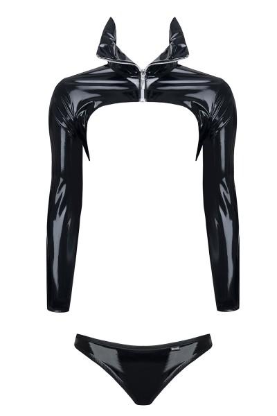 Damen Dessous Set wetlook schwarz aus Jacke Bolero und String Tanga Gogo Club Reizwäsche Set