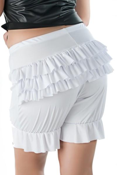 Weißer Damen Dessous Pantaloon Slip mit Volant Fraun Unterhose Höschen