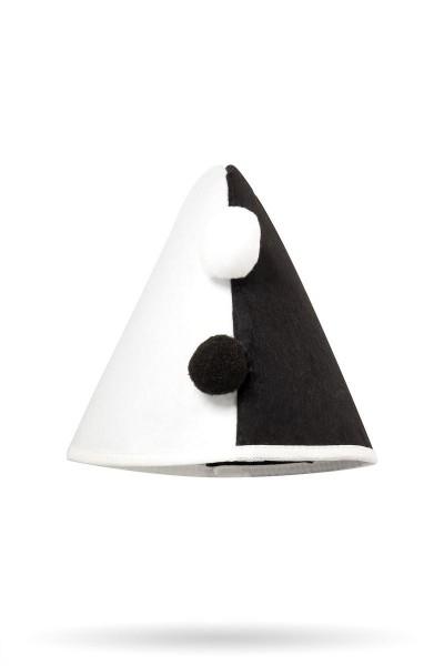 Schwarz weißer Damen Harlekinhut Trachtenhut mit Bommeln und Gummiband Fasching Verkleidung