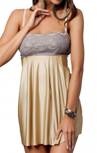 Goldenes glänzendes Negligee Kleid kurz mit Satin und Spitze ausgestellt inklusive String