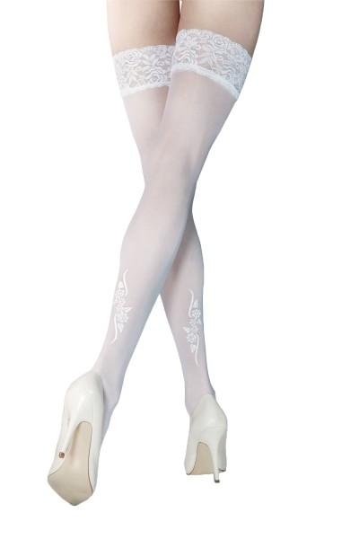 Halterlose Damen Dessous Strümpfe mit Silikonstreifen und Blumen Spitzen-Muster in weiß 20 den