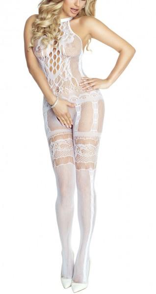 Weißes langes Damen Dessous Netz-Catsuit ouvert Bodystocking transparent dehnbar OneSize S/M