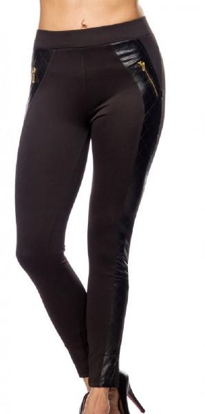 Schwarze Damen Leggings mit goldenen Reißverschlüssen und Seitenstreifen in Kunstlederoptik enge Sto
