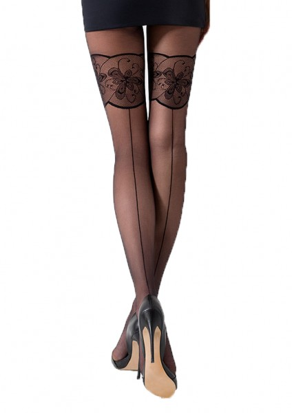 Damen Strumpfhose mit Muster schwarz transparent 20 DEN