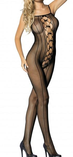 Schwarzer Damen Dessous Bodystocking ouvert Nacht-Kleid aus Netz Schleifen feinmaschig transparent S