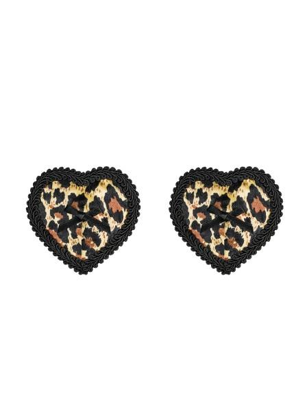 Leopard Damen Dessous Nipple Covers, Patches und Herzform BH brustfrei Selbstklebend und wiederverwe