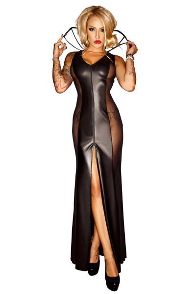 Schwarzes erotisches langes wetlook Kleid mit Kragen Damen Dessous wetlook Kostüm halbtransparent