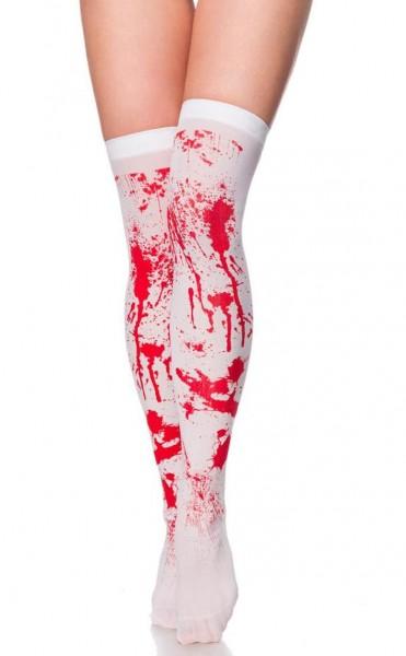 Halterlose weiße Strümpfe mit Blut roten Farbspritzern aus weichen dehnbaren Material Stockings Horr