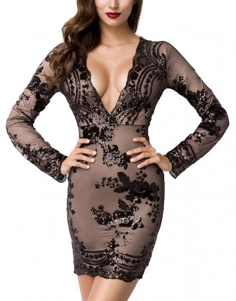 Schwarzes kurzes Abendkleid aus Jersey und Netz mit Pailletten V-Ausschnitt Blumenmuster lange Ärmel