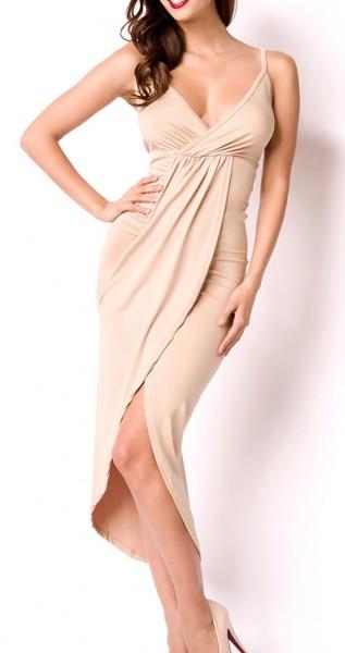 Kurzes beiges asymmetrisches Kleid in Wickeloptik mit Rückenausschnitt V-Ausschnitt gerafftes Rockte