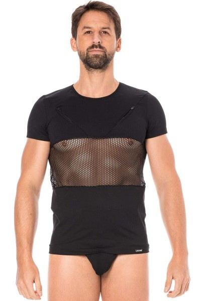 Herren T-Shirt in schwarz mit Netzeinsatz Männer Dessous Shirt elastisch kurzarm
