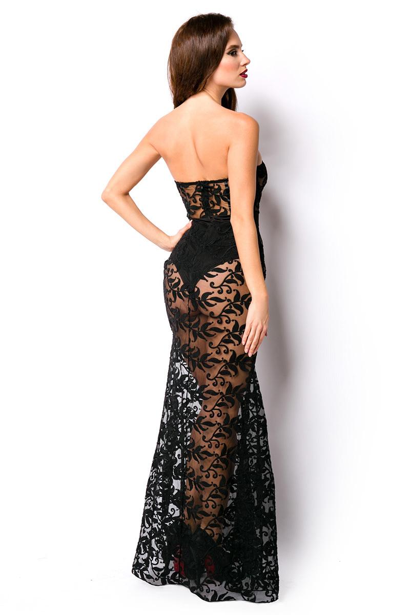 Kleid, Mehrjungfraulinie, tiefer Ausschnitt, transparent ...