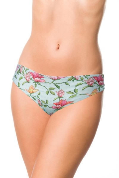 Elastisches Damen Bikiniunterteil Höschen Panty Beinausschnitt und Vögel Blüten Blumen Muster Türkis