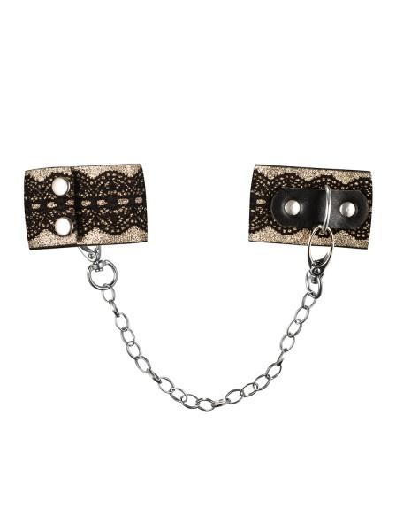 Frauen Dessous goldene Handschellen aus Spitze und Metall Ketten Schwarz Metallring Bänder Größe: On