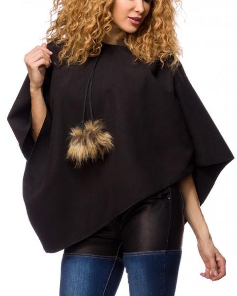 Damen Poncho mit Kapuze und Fellbommeln kurz warm