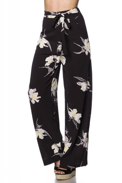 Schwarze weite Haremshose mit buntem Blütendruck weite Schlupfhose mit Tunnelzug