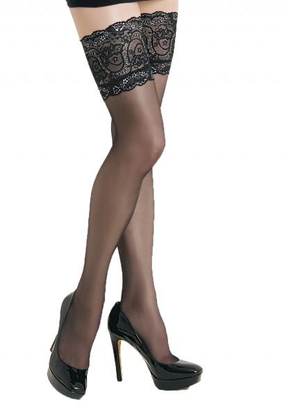 Damen Dessous halterlose Strümpfe aus Spitze in schwarz Stockings mit Silikonstreifen