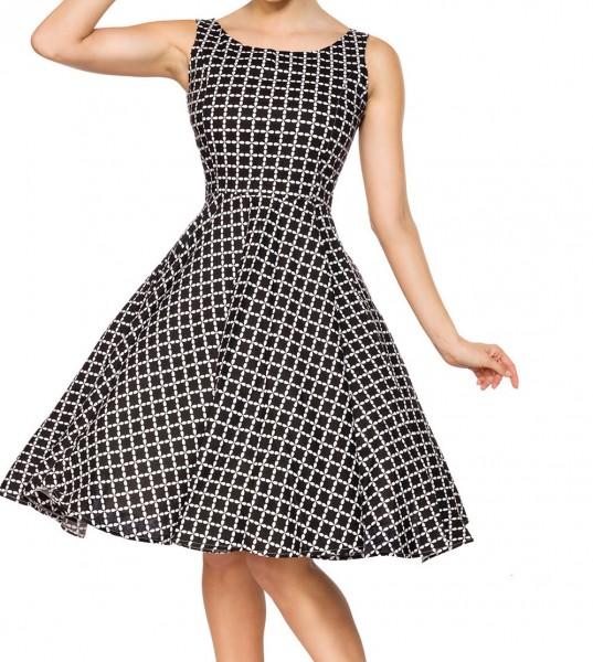 Kurzes Swing Kleid im High Waist Schnitt mit Taillennaht und Tellerrock weiß kariert und schulterfre