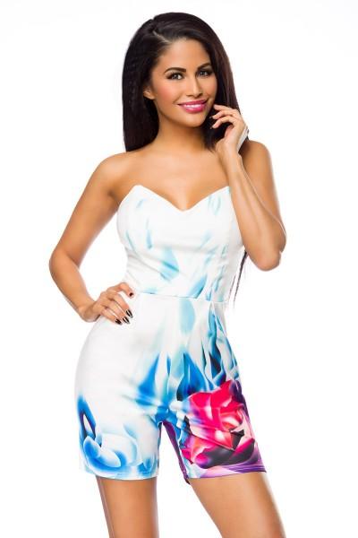 Gemusterter Damen Overall Anzug trägerlos Sommer Outfit mit Reißverschluss in weiß