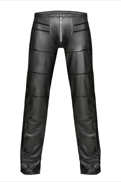 Schwarze lange Herren wetlook Hose dehnbar aus Lackmaterial lange Dessous Hose mit Streifen