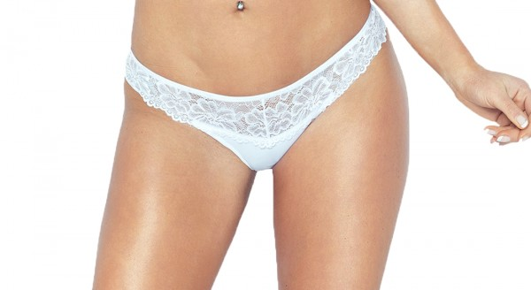 Erotischer Damen Dessous Sexy Panty Slip in weiß mit Spitze blickdicht