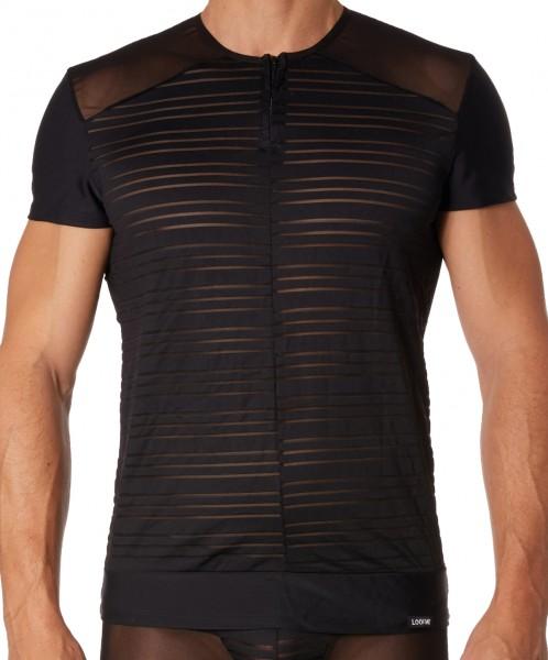 Schwarzes Herren T-Shirt Dessous Shirt aus dehnbarem Tüll teiltransparent Männer Unterwäsche erotisc