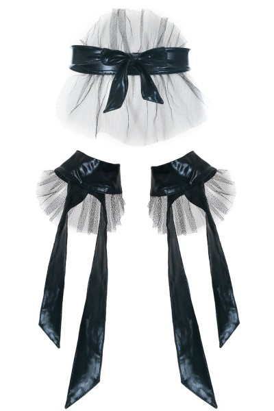 Schwarzes Wetlook Fessel Set mit Maske und Handfesseln aus Tüll zum binden XXL Plus Size