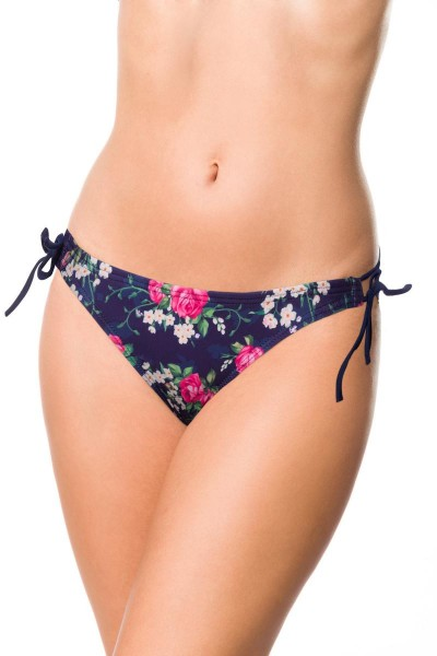 Elastisches Damen Bikiniunterteil Höschen seitlich zum binden Slip Panty und Blumen Muster blau rosa