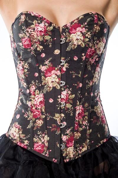 Hochwertige Damen Corsage Korsette mit Rosen Muster, Ösenverschluss und Schnürung