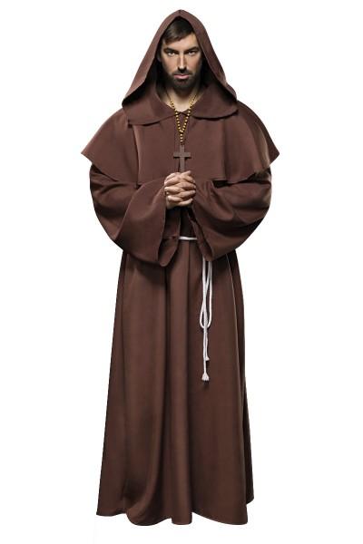 Herren brauner Mönch Anzug Kostüm Verkleidung mit Cape und Gürtel aus Kreuz-Kette Umhang Hängeärmel