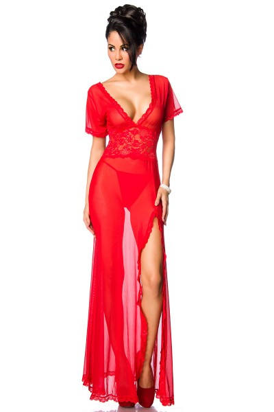 Rotes transparentes langes Kleid aus Netz und Spitze mit V-Ausschnitt und Beinschlitz